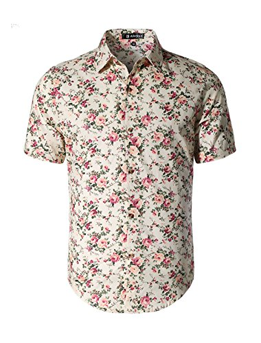 uxcell Men Point Collar Short Sleeve Single Breasted Floral Prints Shirt Medium ()