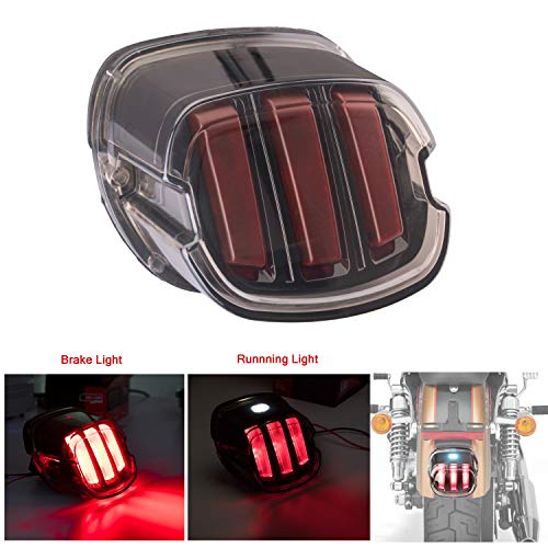 Harley Tail Light LED Brake Running Lights Smoked Lay Down Style Motorcycle Tail Light for Harley Sportster Softail Dyna Road King Road Glide ()