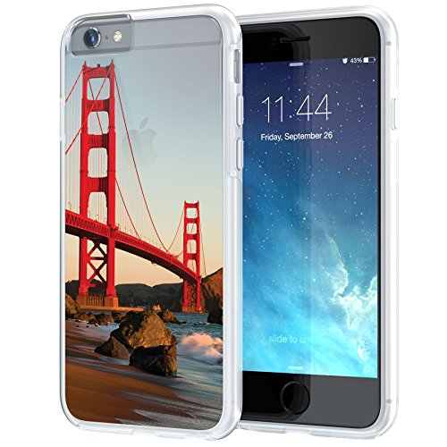 Landmark Collection - True Color Case Compatible with iPhone 6s Case, Golden Gate Bridge [Urban Landmarks Collection] Printed on Clear Hybrid Cover Hard + Soft Slim Durable Protective Shockproof Rubber TPU Bumper