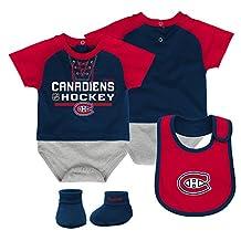 Montreal Canadiens Newborn Junior League Creeper, Bib & Booties Set