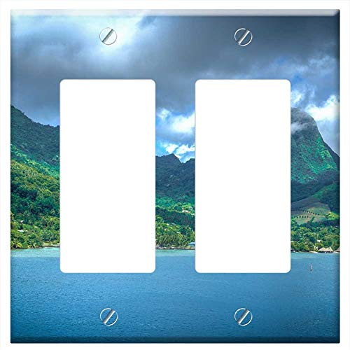 Switch Plate Double Rocker/GFCI - Moorea French Polynesia Mountains Green Ocean