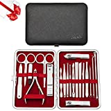 Zilink Manicure Set Nail Clippers for Men and Women Set of 20pcs Professional Nail Grooming Kit with Deluxe Travel Leather Case (Gift Box) (Black) …