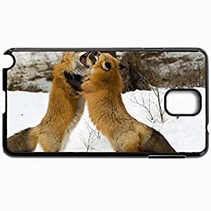 Customized Cellphone Case Back Cover For Samsung Galaxy Note 3, Protective Hardshell Case Personalized Fox Couple Fight Snow Battle Black