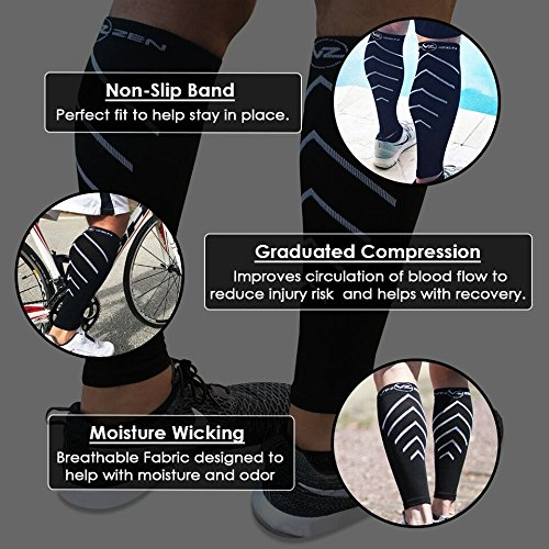 Calf Compression Sleeves - Footless Leg Muscle Support Compression socks Men or Women - Improve circulation for Shin Splint, Calf Pain Recovery, Running, Cycling, Travel, Pregnancy (X-Large, Black)
