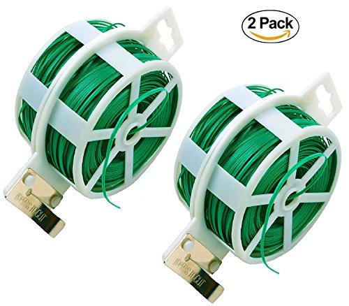 NKTM Twist Tie with Cutter Garden Training 328 Feet Heavy Duty Green Coated Plant (2 Pack)