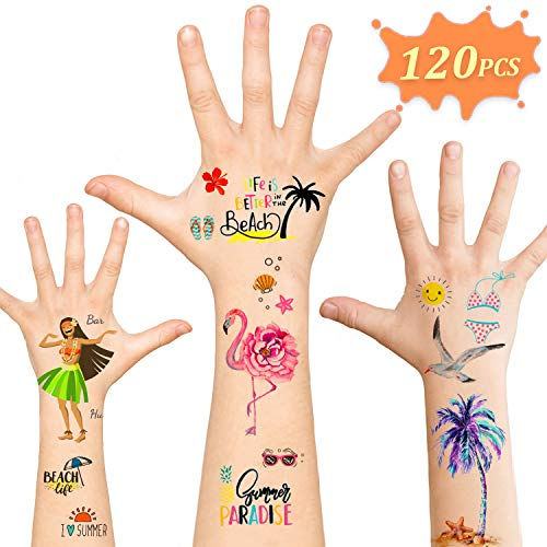 Luau Party Supplies,Temporary Tattoos Hawaiian Party Decorations,120pcs Tattoos Summer Beach Pool Party Carnival Birthday Party Favors Games for Women Men Boys Girls Kids Adults]()