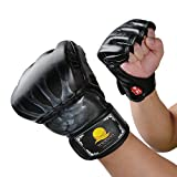 MMA Fight Gloves, Creaker ZOOBOO Half Finger Boxing Gloves with Anti-Burst PU Leather, Multi-Layers Protection, Velcro Wrist Band for Fighting Training Punching Bag (Black)
