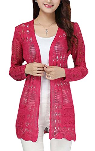 UwantC Womens Crochet Knitted Open Front Cardigan Long Sleeve Pocket Sweater Top Rose Red by UwantC