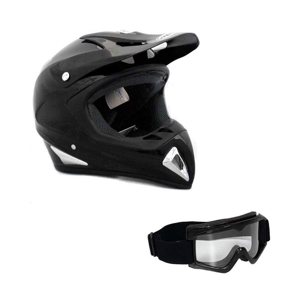 Adult Motorcycle Off Road Helmet DOT - MX ATV Dirt Bike Motocross UTV (M, Shiny Black). Includes Goggles