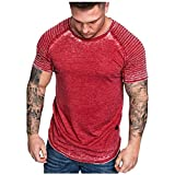 Fashion Men's Summer Pleats Slim Fit Raglan Short Sleeve Pattern Top Blouse Tronet Mens Summer t Shirts Short Sleeve