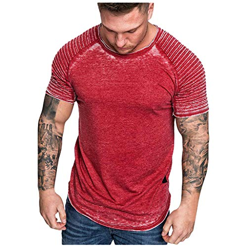 Men Summer Blouse, JOYFEEL Casual Patchwork Slim Fit Raglan Shirt Pleats Short Sleeve Pattern Outdoor Sport Top ()