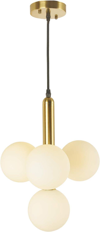 BAODEN 4-flammig Modern Globus Pendelleuchte Mid Century Gebürstetes Messing Kronleuchter mit G9 Birne und White Globus Glas Lampenschirm Wohnzimmer -
