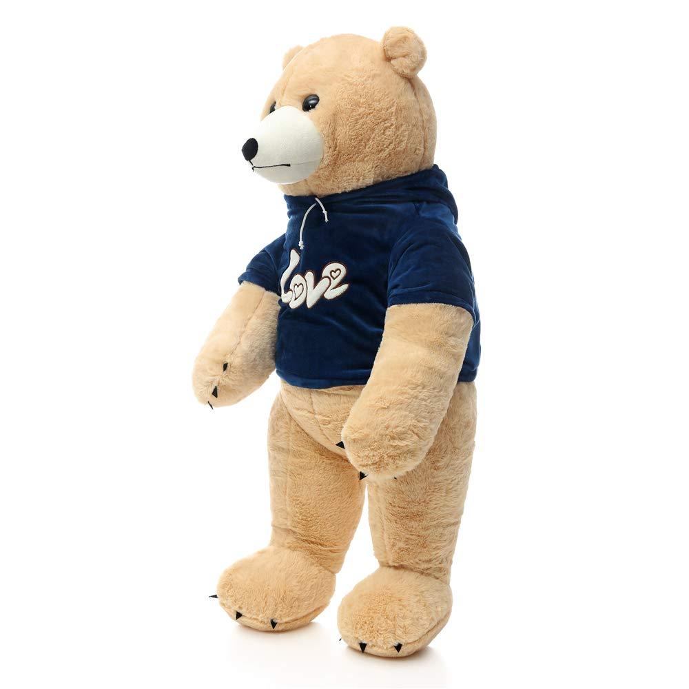 MorisMos Stuffed Polar Bear Plush Toys,Standing Tan Polar Bear Dressed in Hoodie,Giant Teddy Bear for Kids,Boys,Girlfriend,35 Inches