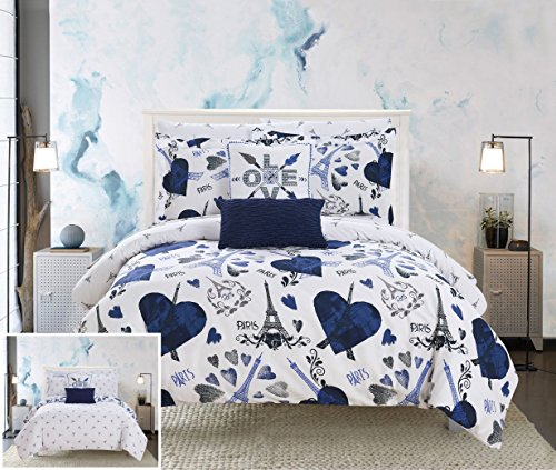 9 Piece Reversible Comforter Paris is Love Inspired Printed Design Bed in a Bag-Sheet Set Decorative Pillows Shams Included Size, Queen Navy ()