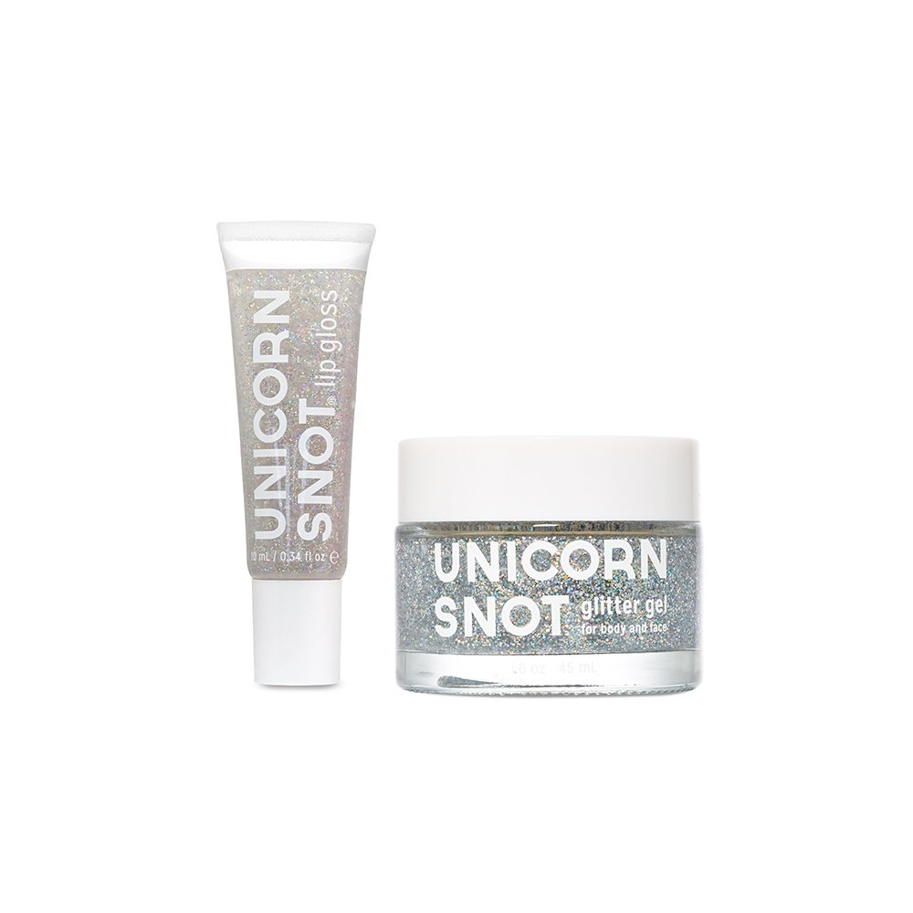 Unicorn Snot Holographic Glitter Lip Gloss + Gel, Combo Pack, Vegan & Cruelty-Free (Pink) FCTRY