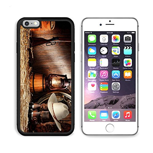MSD Premium Apple iPhone 6/6S Plus Aluminum Backplate Bumper Snap Case iPhone6 Plus IMAGE ID: 11356334 American West rodeo cowboy authentic working gear with white straw hat atop genuine roper leathe (Roper Straw Cowboy Hat)