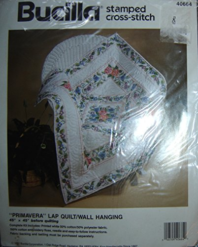 - Bucilla Stamped Cross Stitch Kit: Primavera Floral Lap Quilt/Wall Hanging; 45
