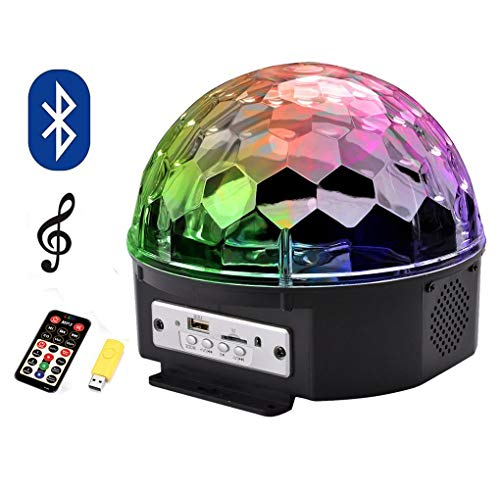 Azalmu Bluetooth Disco Ball Lights Sound Activated 9 Color LED Party Strobe Light with Wireless Phone Connection Bluetooth Speaker MP3 Play and Remote for Home KTV Birthday Dance Show ()