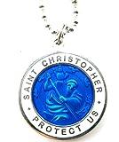 Large Saint Christopher Surf Medal Pendant Necklace Royal Blue/White RB/WH