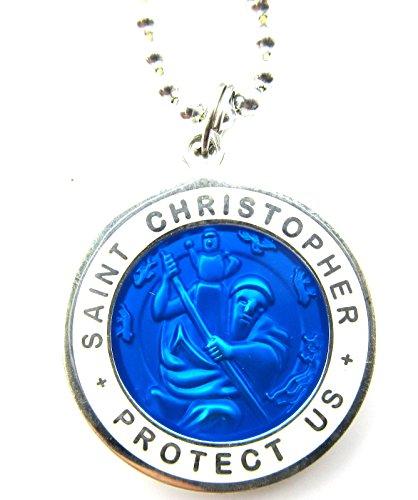 Large Saint Christopher Surf Medal Pendant Necklace Royal Blue/White RB/WH - St Christopher Surfer Medal