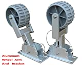 Brocraft Deluxe Flip-Up Dinghy Wheels, Marine Grade Aluminum Bracket With 4 Wheel Arm Positions, Fit Dinghy, Inflatable, Aluminum, RIB Boat