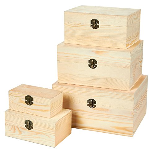 - 5-Piece Hinged-Lid Nesting Boxes for Arts, Crafts, Hobbies and Home Storage, Unfinished Wood, Natural Wood Color ()