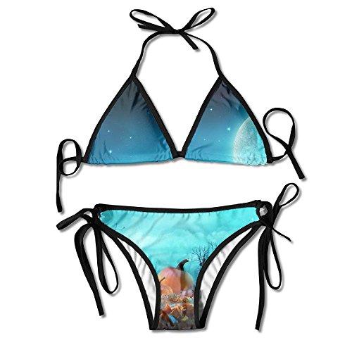 Moonlight In The Halloween Scene Bikini Women's Summer Swimwear Triangle Top Bikinis Swimsuit Sexy 2-Piece -