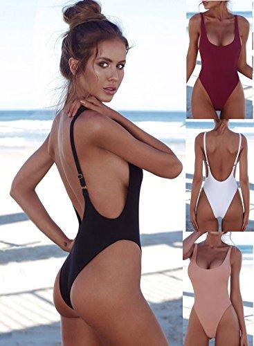 49876538e6fb7 PRETTYGARDEN Women's One Piece Halter Straps U Neck Backness Swimsuits  Monikini Bathing Suit (Black,