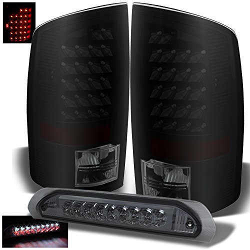 2005 Smoked Led (For 2003-2006 Dodge Ram Mystery Black/Smoked LED Tail Lights + Smoked LED 3rd Brake Lamp 2003 2004 2005)