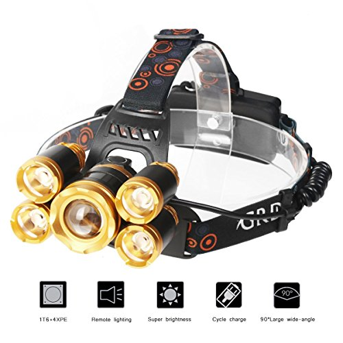 (Super Bright Led Headlamp,8000 LM 5 LED Super Bright Headlight ,Waterproof Hard Hat Light, IMPROVED LED Rechargeable Zoomable Head torch Headlight for Outdoor Camping Hunting Fishing Cycling)