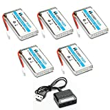 HOBBYTIGER 3.7V 1200mAh Lipo Battery 25C ( 5PCS ) + 5 in 1 Batteries Charger for SYMA X5SW X5SC CX-30W RC Quadcopter Drone Replacement