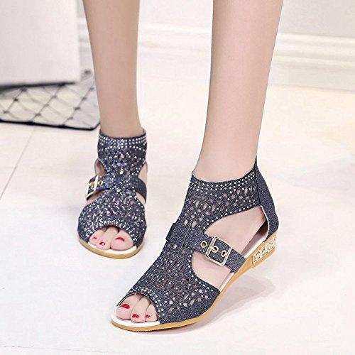 Femmes Cybling Bas Wedges Sandales Mode Été Fermeture À Glissière Strass Creux Chaussures À Bout Ouvert Noir