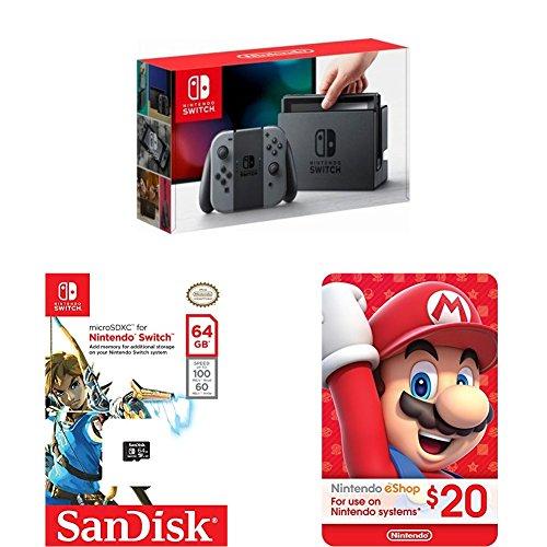 Nintendo Switch - Gray Joy-Con + SanDisk 64GB microSDXC UHS-I card + eCash - Nintendo eShop Gift Card $20 bundle