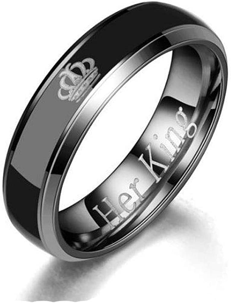 Godyce Stainless Steel Mood Ring Her King His Queen Crown Emotional Change Color Temperature Feeling Promise Engagement Wedding Band