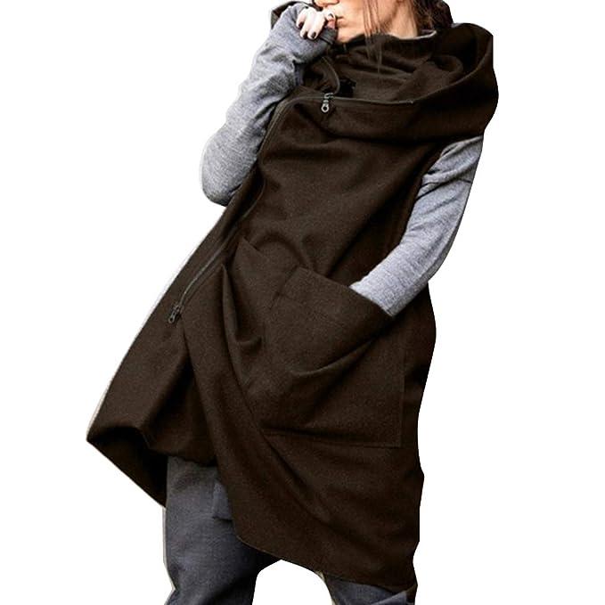 Hibote Mujeres Chaqueta de Sin Mangas Sintética Fluffy Suelto Casual Trench Coat Color SóLido Cremallera Parker