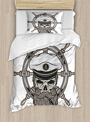 [Skull Duvet Cover Set by Ambesonne, Captain Pirate Skull in Sailor Hat with Beard and Pipe Nautical Theme Print, 2 Piece Bedding Set with 1 Pillow Sham, Twin / Twin XL Size, Brown White Grey] (Nautical Beard)