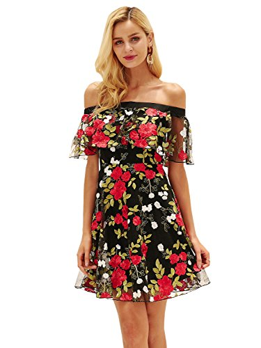 Simplee Apparel Women's Sexy Off Shoulder Ruffles Floral Embroidery Short Mini Dress