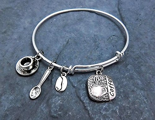 Coffee Lover Expandable Charm Bracelet - you choose bangle style (Spoon Braided)