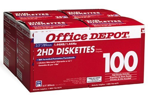Office Depot(R) 3 1/2'' Bulk Diskettes, IBM(R) Format, DS/HD, Black, Box Of 100