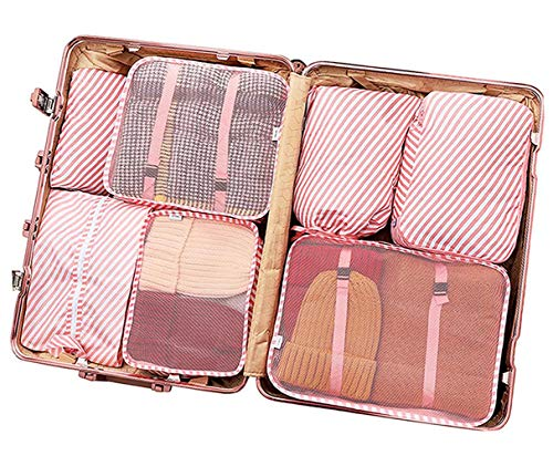 Packing Cubes for Travel, 6/7/8/9 Set Luggage Organizer With Shoe Bag, Compression Cells, Accessories Bags Made With Wearable Waterproof Material. Perfect for Travel, Long Trips, Camping (Pink Stripe 7 PCS)