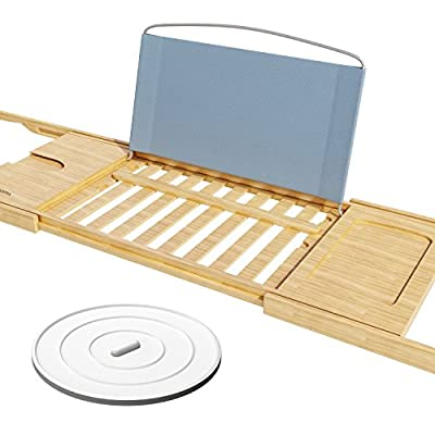 Bamboo Bathtub Caddy Tray with Extending Sides and Drain Stopper -Fits Any Tub Jacuzzi or Hot Tub Design - Holds Tablet Book Phone and a Glass of Wine