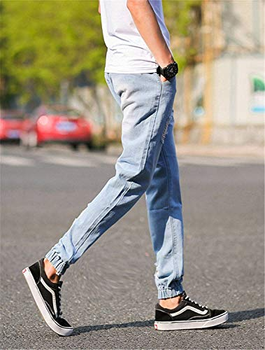 Ragazzi Classiche 2018 Da Elastici Jeans Alla Pantaloni Eleganti 1 Elasticizzati Caviglia Moda Skinny Blau Strappati Cargo Uomo xfA6rwx