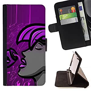DEVIL CASE - FOR Samsung Galaxy S4 Mini i9190 - Purple Woman - Style PU Leather Case Wallet Flip Stand Flap Closure Cover