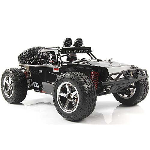 SZJJX RC Car, 1/12 Scale 4WD High Speed Vehicle 35MPH+ 2.4Ghz Radio Remote Control with LED Light Vision - Black
