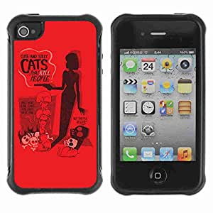 A-type Arte & diseño Anti-Slip Shockproof TPU Fundas Cover Cubre Case para Apple iPhone 4 / 4S ( Funny Cute & Silly Cat's Poster )