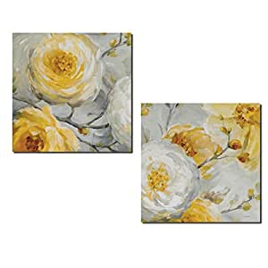 Beautiful Gray and Yellow Flower and Bud Print Set by Lisa Audit; Floral Decor; Two 12x12in Poster Prints