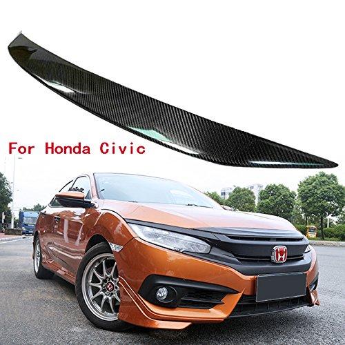 (Carbon Fiber Pattern FRONT HOOD BONNET GRILL MOLDING COVER TRIM LIP FIT HONDA CIVIC)