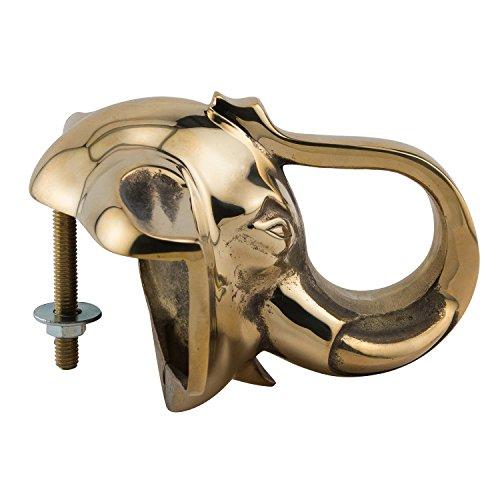 KegWorks Elephant Head Decorative Bar Rail Bracket - Polished Brass - For 2