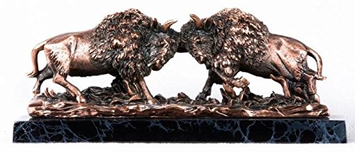 StealStreet SS-BA-C262 2 Copper Bison Buffaloes with Horns Ramming Each Other Figurine Statue