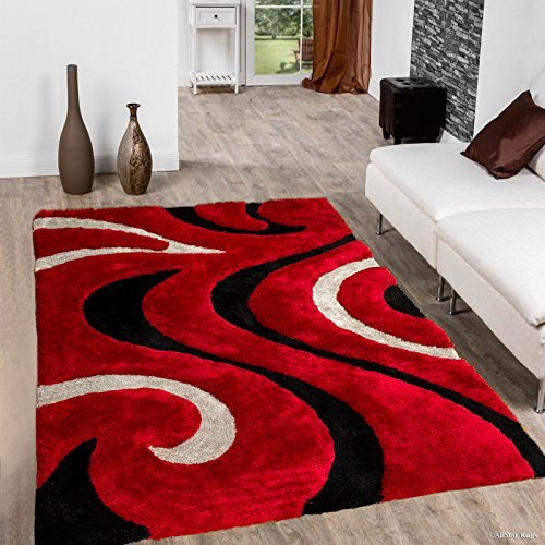 - Allstar 8X11 Red Modern Hand Carved Rectangular Shag Rug with Espresso and Ivory Swirl Design ((7' 5